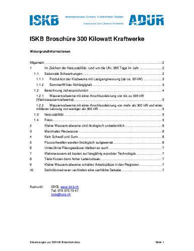 """Hintergrundinformationen zur Broschüre """"10 Gründe für kleine Wasserkraftwerke"""""""
