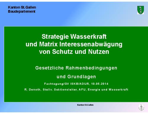 Kanton SG – Strategie Wasserkraft und Matrix Schutz und Nutzen (GV_ISKB)