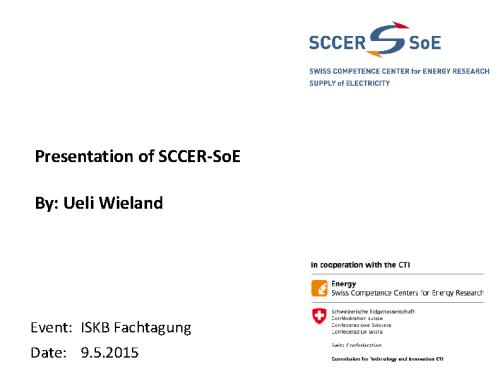 SCCER-SoE – Präsentation