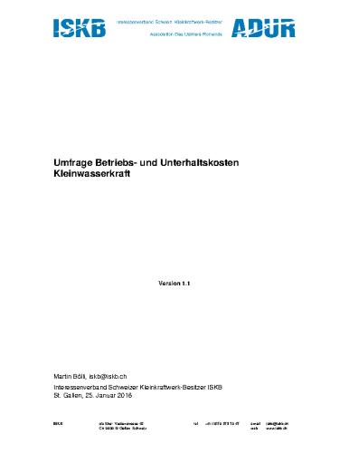 Swiss Small Hydro – Betriebs- und Unterhaltskosten von Kleinwasserkraftwerken
