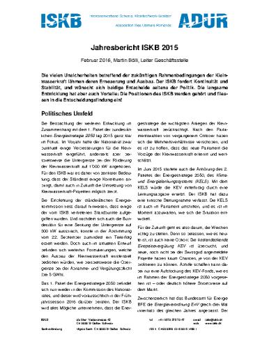 Jahresbericht ISKB 2015