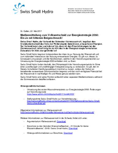 Medienmitteilung zum Volksentscheid ES2050