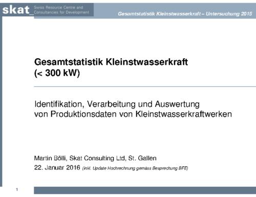 Statistik Kleinstwasserkraftwerke – Skat / BFE 2016