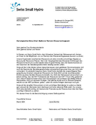 Stellungnahme Swiss Small Hydro WRG