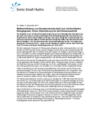 02.11.17 – Medienmitteilung neues Energiegesetz