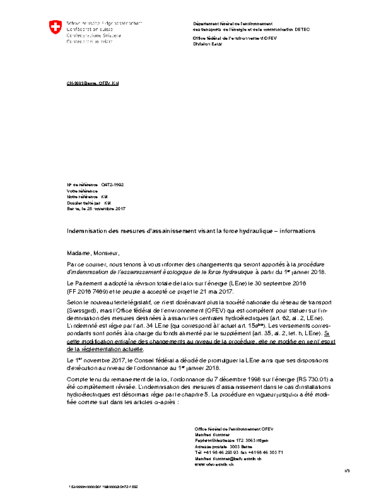 Infobrief_Renaturierung_der_Gewässer,_Entschädigung_Sanierung_Wasserkraft_-_fr