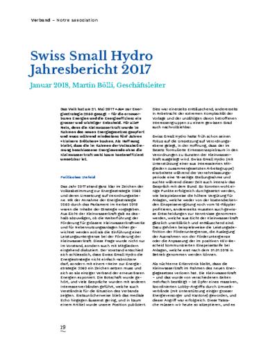Jahresbericht Swiss Small Hydro 2017 DE
