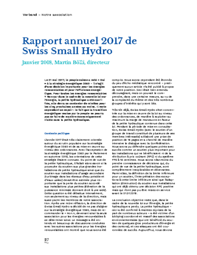 Rapport Annuel Swiss Small Hydro 2017 FR
