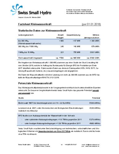 Factsheet Kleinwasserkraft 2018 v181015