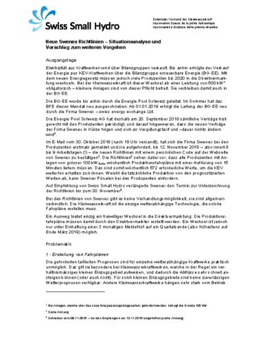 Beurteilung Swenex Richtlinien / jugement contrats Swenex