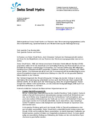 190131 Stellungnahme Vernehmlassung StromVG WEB