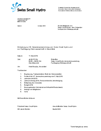 Invitation AG / Einladung GV