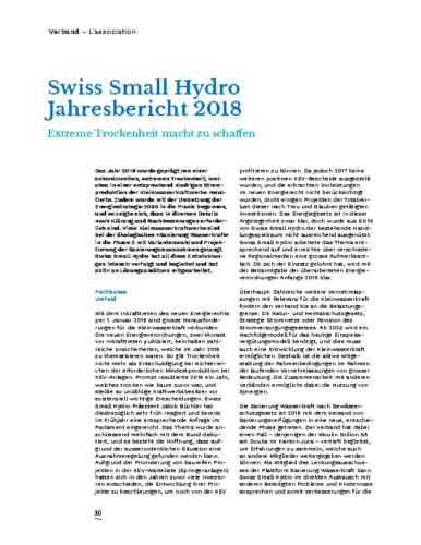 Jahresbericht Swiss Small Hydro 2018 DE