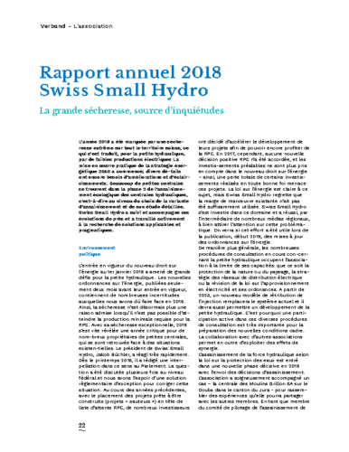 Rapport Annuel Swiss Small Hydro 2018 FR
