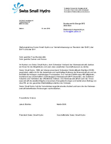 190619 Stellungnahme Vernehmlassung Energieverordnungen WEB