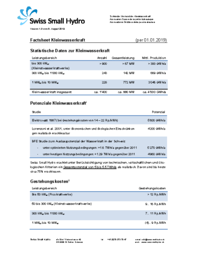 Factsheet Kleinwasserkraft 2019 v190806