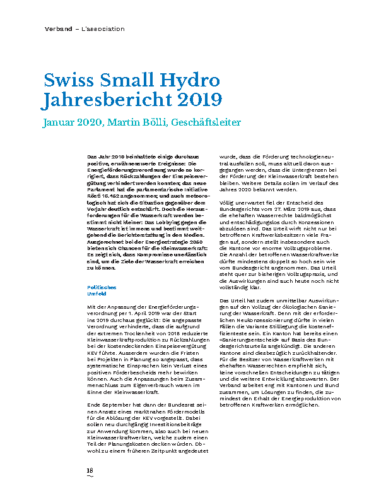 Jahresbericht Swiss Small Hydro 2019 DE